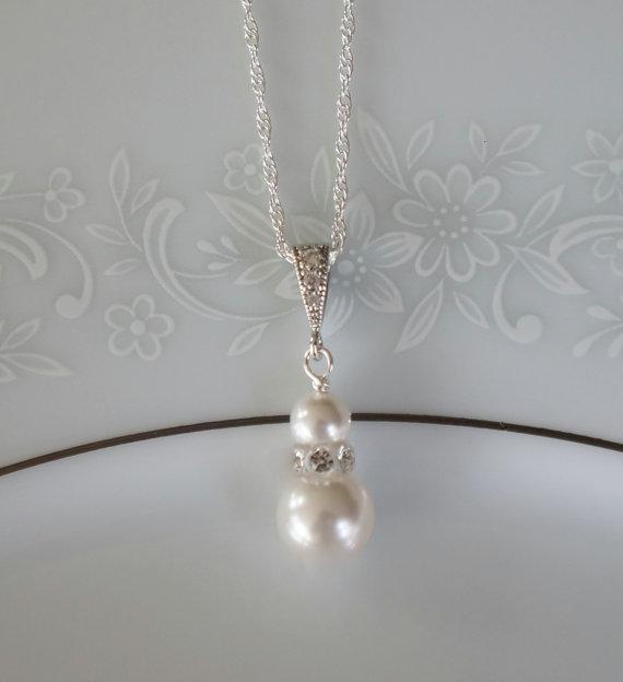Свадьба - Pearl Bridesmaid Jewelry Swarovski Pearl Necklace Pearl Bridal Necklace Bridesmaid Necklace Wedding Jewelry