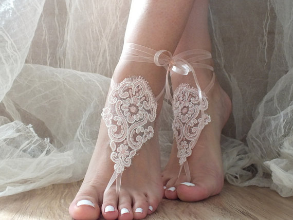 Blush Wedding Barefoot Sandals, Beach Shoes, Bridal Sandals, Barefoot  Sandles, Salmon Sandals, Wedding Shoes, Summer Wear, Handmade