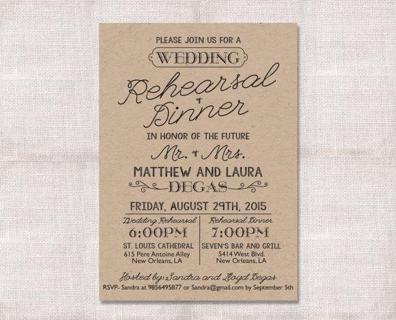 زفاف - Wedding Rehearsal Dinner invitation custom printable 5x7