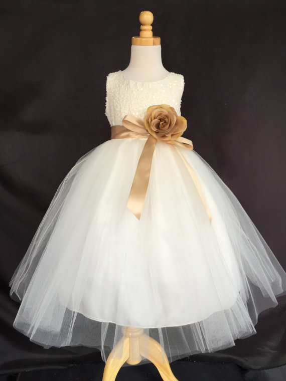 Wedding - Ivory Wedding Bridal Bridesmaids Sequence Tulle Flower Girl Dress Toddler 6 12 18 24 Months 2 4 6 8 10 12 14