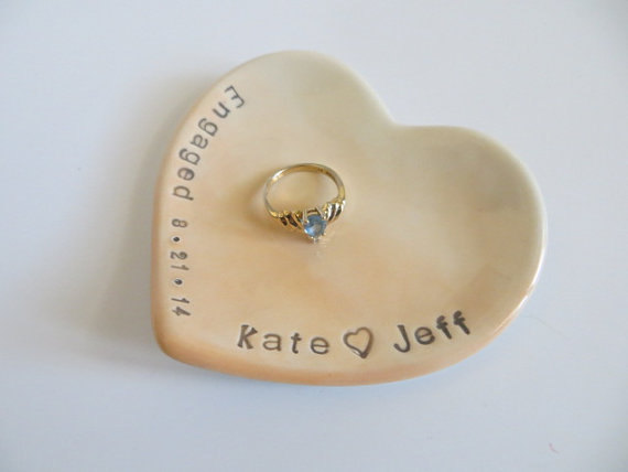 Hochzeit - ring dish, wedding ring holder, Engagement Gift with date, Peach OMBRE, Gift Boxed, Made to Order