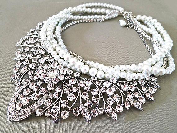 Mariage - Bridal Rhinestone Necklace, Bridal Statement Necklace, Bridal Jewelry, White Pearls, Bib Wedding Necklace,Pearl Bridal Necklace, Lara