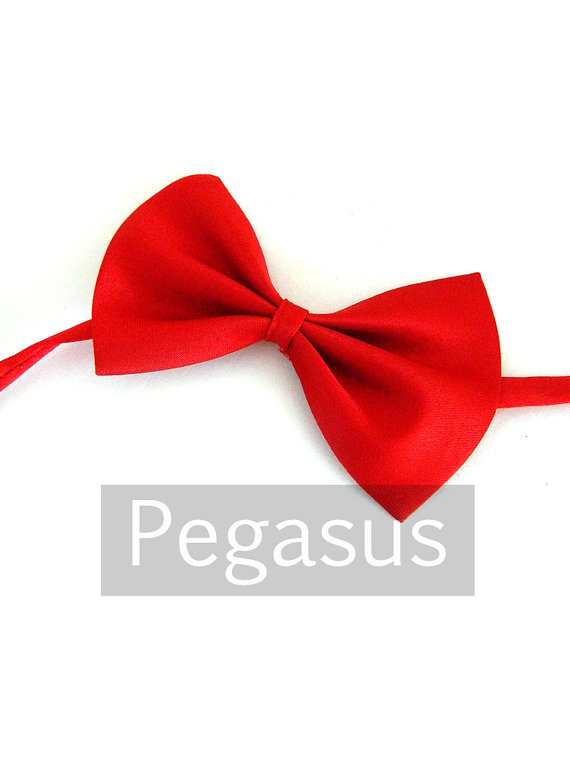 Свадьба - Red Ring Bearer Bowtie (1 piece) Polyester Satin children bowtie for boys or pet dog and cats with adjustable collar (Comes in 4 colors)