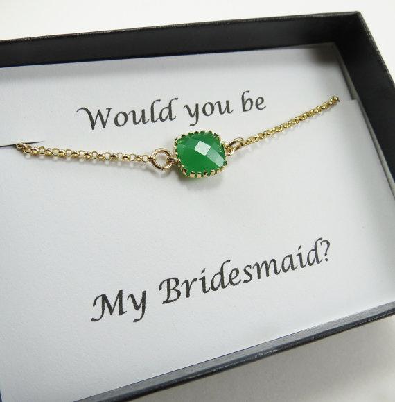 Mariage - Green Bridesmaids Bracelet, Bridal Bracelet, Bridesmaids Jewelry,Wedding Jewelry, Maid of Honor,Flower Girl Jewelry,Bridal Gift