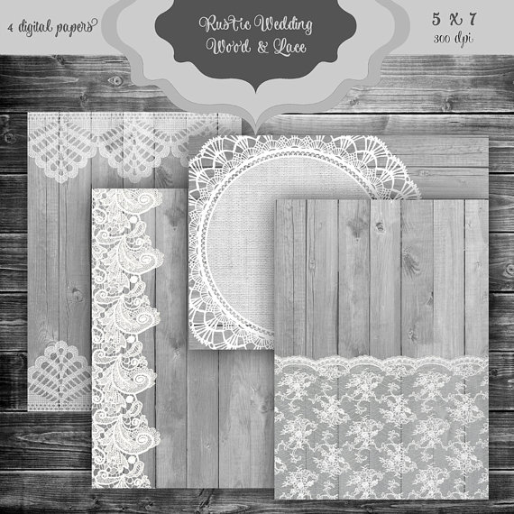 Wedding - Rustic Wood & LACE Digital Paper Pack - Vintage wood and lace pattern wedding invitation bridal shower backgrounds - 5 x 7 Invitation Papers