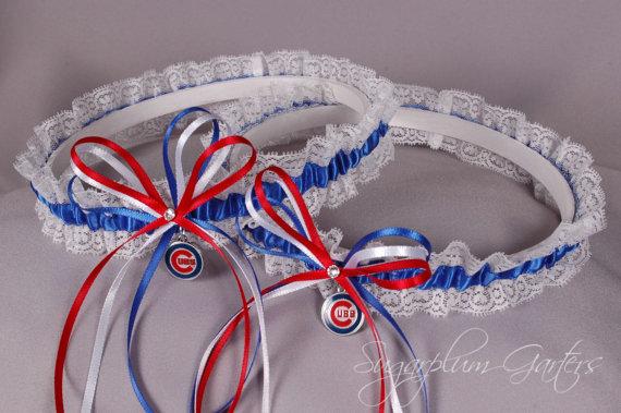 Свадьба - Chicago Cubs Lace Wedding Garter Set