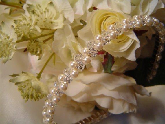 زفاف - Crystal and pearl bridal headband or tiara