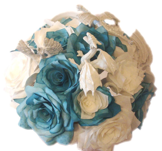 Unique Dragon Themed Bouquet In Handmade Paper Flowers Fantasy