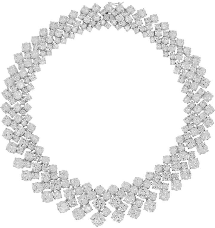 Rhodium-plated Cubic Zirconia Necklace - Silver Kenneth Jay Lane tn5pQPTf9