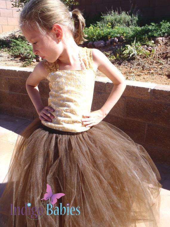 Wedding - Flower Girl Dress, Weddings, Tutu Dress, Brown Tutu, Gold Lace, Ivory Satin Top, Reception, White Ballerina, Bridesmaids Tutu, Wedding