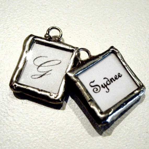 Mariage - Custom MINI CHARM photo memory soldered glass charms reversible with your 2 pictures or images