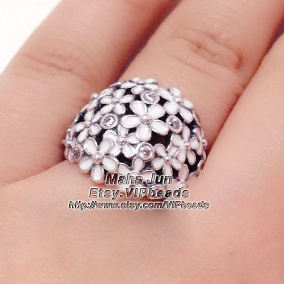 Mariage - 2015 New Authentic 925 Sterling Silver Ring Darling Daisy Bouquet with White Enamel and Clear CZ Ring R030  -Size US5, 6,7,8,9