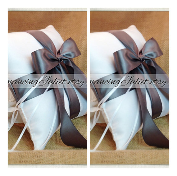 Свадьба - Romantic Satin Ring Bearer Pillow Set of 2...You Choose the Colors..shown in white/pewter gray