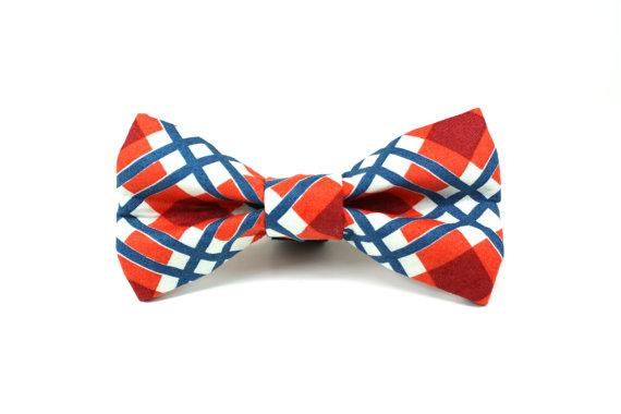 Mariage - Plaid Dog Bow Tie - Union Plaid Removable and Adjustable Dog Bow Tie / Wedding Dog Bow Tie / Preppy Dog Bow Tie