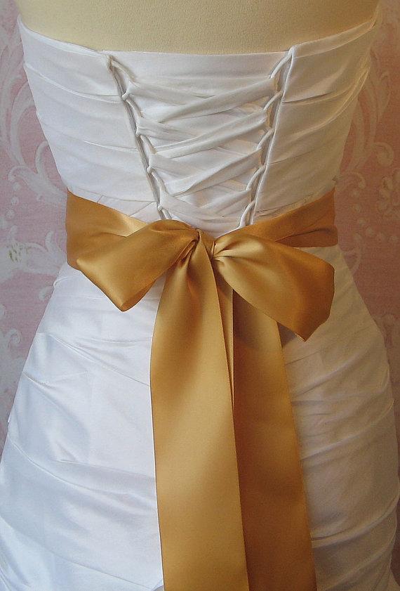 Hochzeit - Double Face Antique Gold Satin Ribbon, 2.25 Inch Wide, Ribbon Sash Dark Gold, Bridal Sash, Wedding Belt, 4 Yards