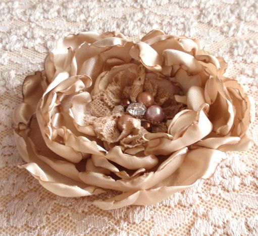 Hochzeit - 2 Larger Handmade Flowers With Pearl and Rhinestone (4 inches) In Tan  For Wedding MY-013 -02 Ready To Ship