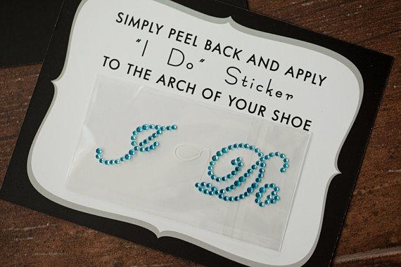 Mariage - I Do Shoe Stickers for Brides and Weddings // AQUA BLUE