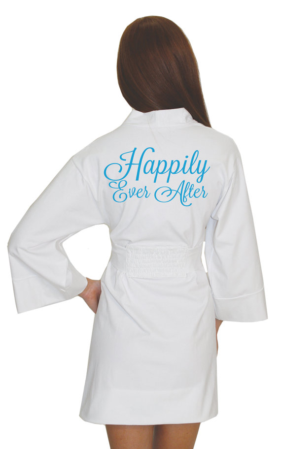 Mariage - Bride Robe, Happily Ever After Bridal Robe, wedding lingerie, bridal lingerie for the wedding, honeymoon or getting ready on the big day