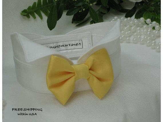 زفاف - Yellow Satin Bow on Wingtip Tuxedo Dog Collar~Dog Best Man~Dog Tuxedo Collar~Wedding Dog Attire~Bow Tie Dog Collar~Free Shipping Within USA~