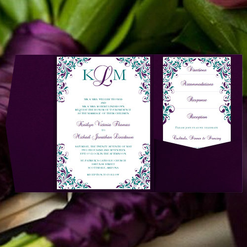 Peacock Wedding Invitations Kaitlyn Purple Teal Pocket Card