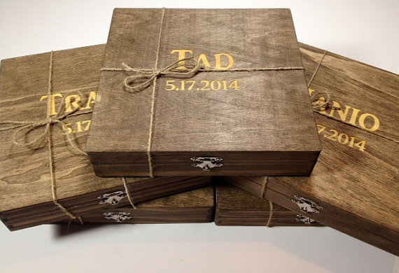groomsmen gift 5 rustic cigar boxes with laser engraved names u0026 stained wooden cigar box felt lined bottom