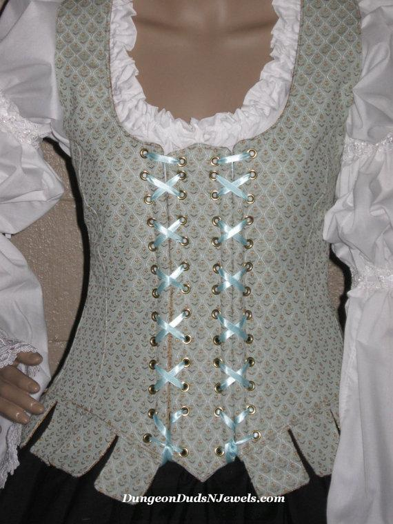 Mariage - DDNJ Choose Fabrics Fully Reversible Demi Bodice Style Side Lace Tabbed Corset Plus Custom Made ANY Size  Renaissance  Pirate Anime Wedding