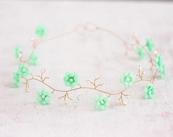 Mint Hair Accessories Green Flower Crown Gold Headband Pearls Wedding Bridal Tiara Diadem Halo