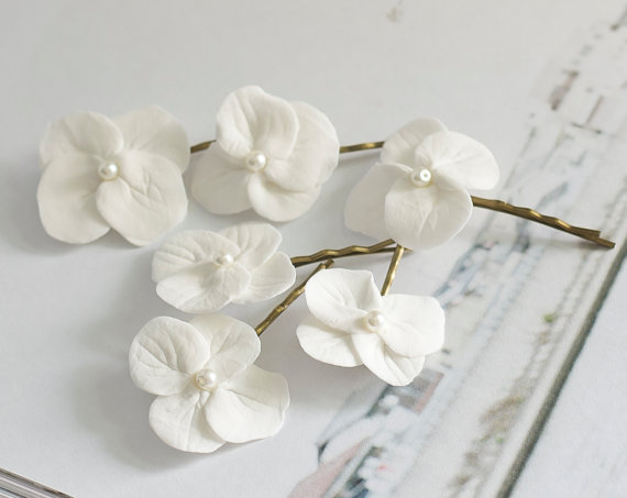 Hydrangea Hair Clips White Flowers Bridal Accessories Wedding Bobby Pin Flower For Summer
