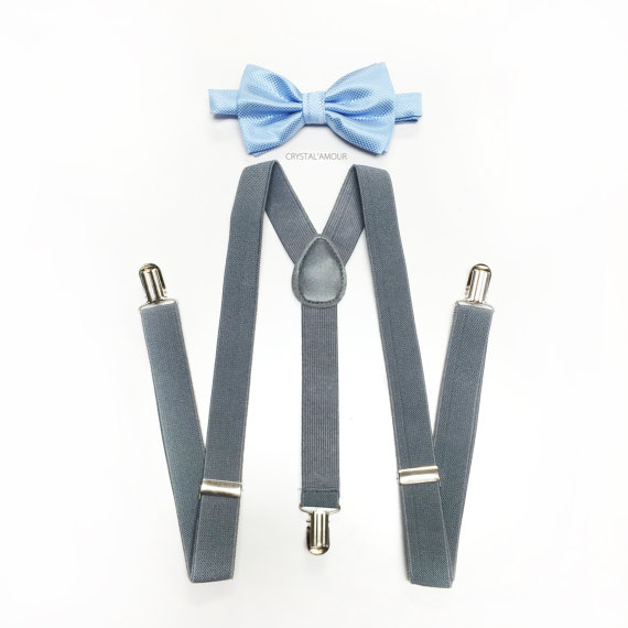 Mariage - light blue bow tie, toddler's suspenders, gray suspenders and sky blue bowtie set, toddler's bow tie for weddings, ring bearer outfit