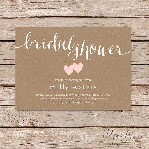 زفاف - Rustic Bridal Shower Invitation / Kraft paper bridal shower invitation / white ink on kraft paper calligraphy bridal shower invitation