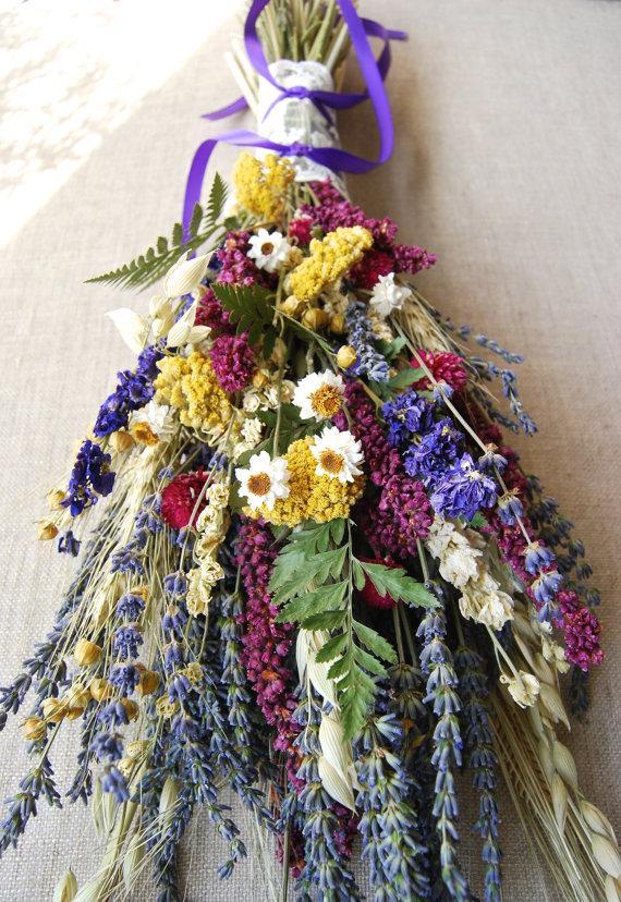 Hochzeit - Kiss Me Quick Wedding  Brides Bouquet of Lavender Larkspur Wheat and other dried flowers
