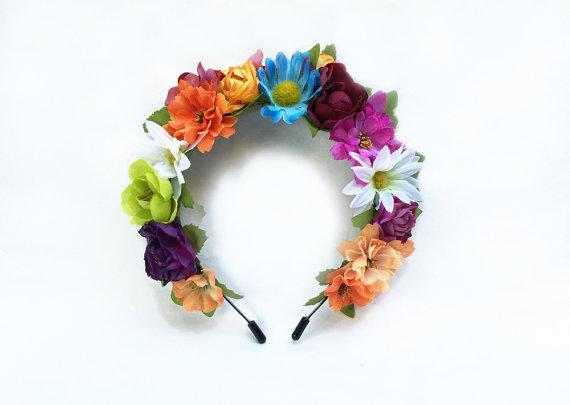 Mariage - Summer Frida Flower Crown, Flower Crown, Frida Kahlo, Pride, Mexican, Rainbow, Flower Headband, Floral Headpiece, Fiesta, Weddings, Boho
