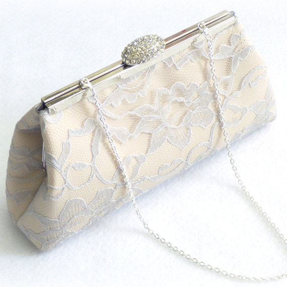 Mariage - Bridesmaid Gift Clutch, Champagne, Platinum Grey And Steel Grey Bridal Clutch, Mother Of The Bride Gift, Bridal Shower Gift, Wedding Clutch