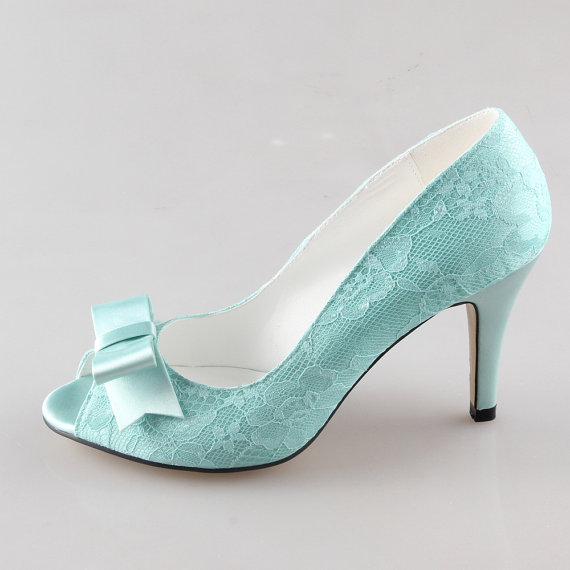 Свадьба - Light green fresh mint lace bow shoes wedding party shoes -  peep toe open toe heels pumps green blue heels - other colors are available too