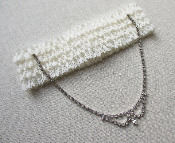Mariage - Princess vintage one of a kind garter