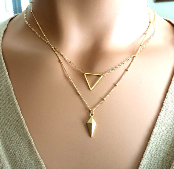 Свадьба - Layered necklace SET / Triangle Necklace,Pesonalized Necklace, Personalized Jewelry , Charm, Bridal, Strand, Statement ,Gifts for her, GIFTS