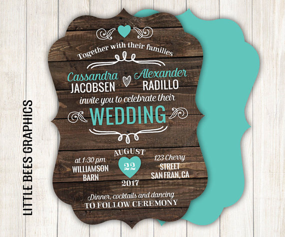 Wedding - 10 Rustic Ornate Wedding Invitations // Unique Die Cut Invites in any color // envelopes included