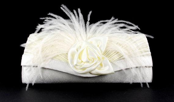 زفاف - Bridal Clutch - Off White Satin Evening Bag with Ostrich Feathers - Wedding Purse - Bridal Purse - White Bridal Clutch