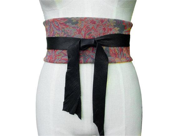 Свадьба - WIDE CORSET BELT Obi Belt Floral Tapestry & Leather Obi Belt or Cummerbund, Wide Underbust Belt, only one , unisex, in stock