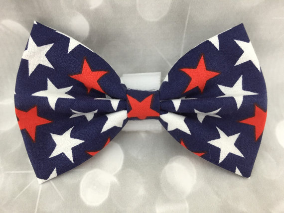 Свадьба - Patriotic Stars 4th of July Large Dog Bow / Bow Tie