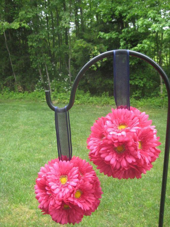 Wedding - Fuchsia/hot pink Gerbera Daisy Pomander