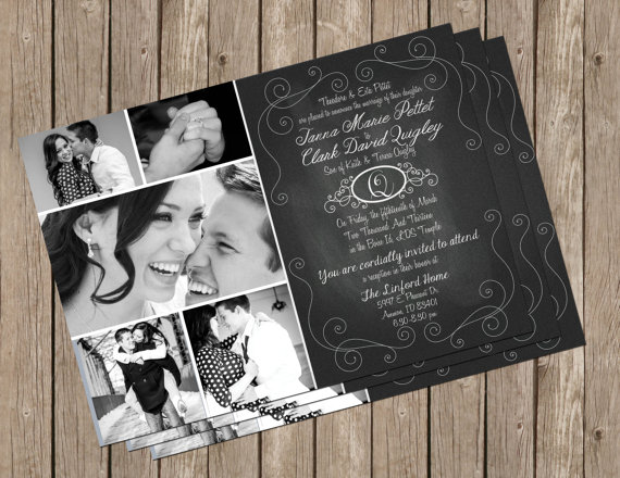Hochzeit - Chalkboard Wedding Invitation, Photo, Card, Digital Print, Printable