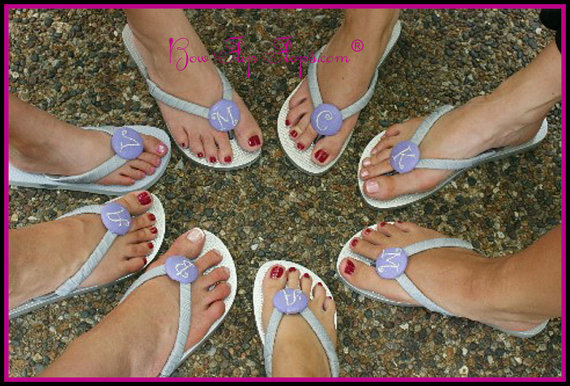 774e87d8ab10c Bridesmaid Flip Flops Wedding Bow monogrammed personalized initial bridal  party flower girl sandals name pedicure gift beach shoes monogram