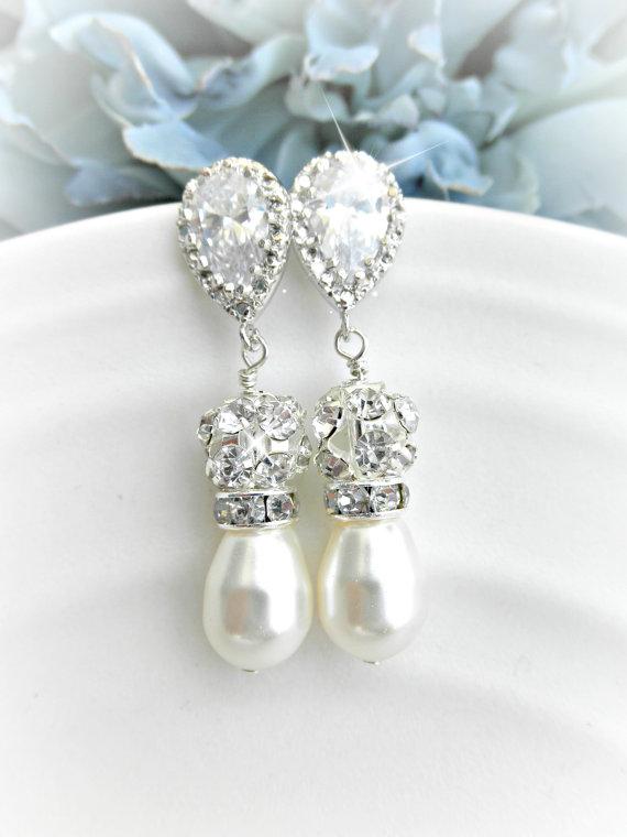 Mariage - Pearl and Rhinestone Wedding earrings // Cubic Zirconia Bridal Earrings //  Earrings, Rhinestone and Swarovski Pearl Jewelry