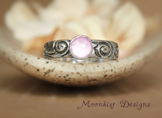 Lavender Moon Quartz Bezel Set Solitaire With Floral Sterling Band Spiral An