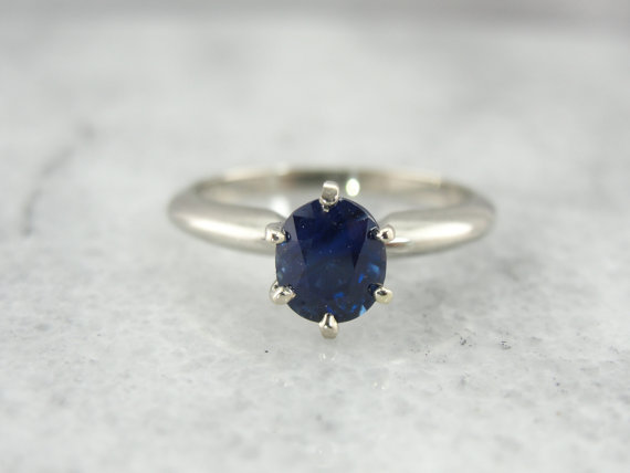 Mariage - 14K White Gold Solitaire Sapphire Engagement Ring C11WRH-R