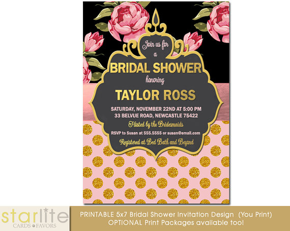 Hochzeit - Vintage style Bridal Shower invitation, Floral, Pink Gold Glitter Dots, foil, shabby chic, engagement, Printable Design or Printed Option