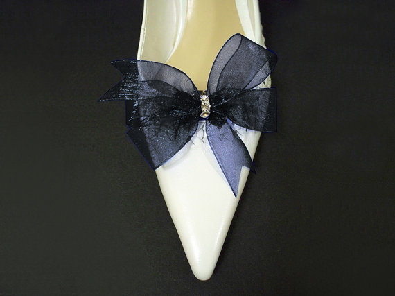 Mariage - Something Blue Accessories Bridal Shoe Clips in Navy Blue Organdy Bow Swarovski