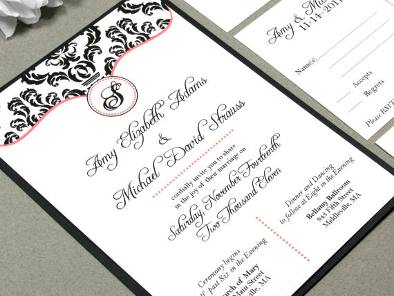 damask wedding invitation set monogram wedding invitations calligraphy wedding invitation modern wedding invitation coral and black - Damask Wedding Invitations