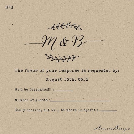 Custom Rubber Stamp Swirl Diy Rsvp Stamp Wedding Invitations